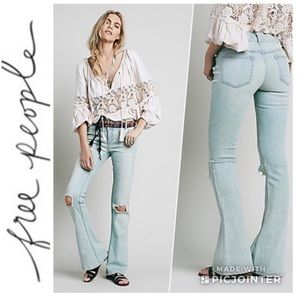 Free People Low Flared skinny ripped knees jeans